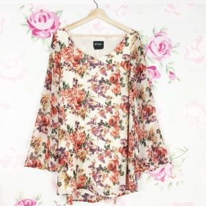 Nasty Gal Floral Bell Sleeves Shift Dress S